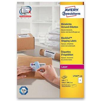 Obrázek produktu Bílé zásilkové 100% krycí etikety Avery - 100 archů, laser, výběr rozměrů