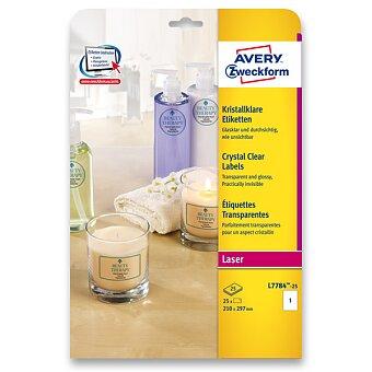Obrázek produktu Čiré samolepící etikety Avery - 25 archů A4, odolné, výběr rozměrů