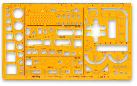 Obrázek produktu Kombinovaná šablona pro architekty Rotring - 1:50