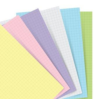 Obrázek produktu Poznámkový papír, čtverečkovaný, 6 barev - náplň osobních diářů Filofax