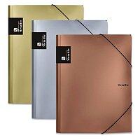 Tříchlopňové desky s gumičkou PP Karton Metallic