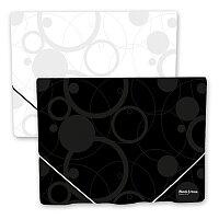 Desky s gumičkou a chlopněmi PP Black & White