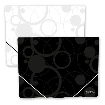Obrázek produktu Desky s gumičkou a chlopněmi PP Black & White - A4, výběr barev