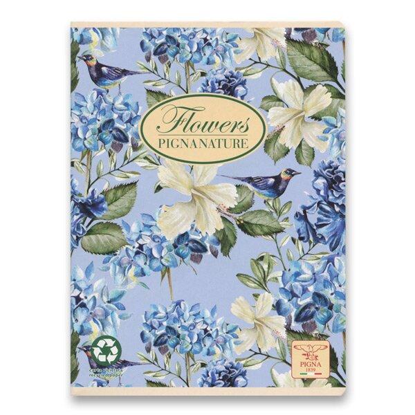 Školní sešit Pigna Nature Flowers A5, čistý, 40 listů, mix motivů