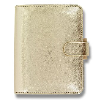 Obrázek produktu Kapesní diář Filofax Saffiano A7 - zlatý