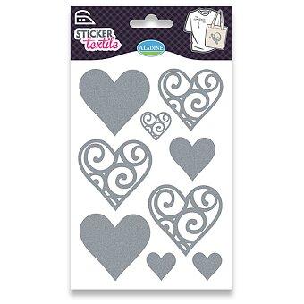 Obrázek produktu Nažehlovací nálepky na textil - Srdíčka - glitrové