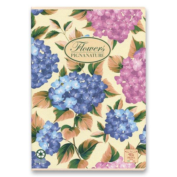 Školní sešit Pigna Nature Flowers A4, čistý, 40 listů, mix motivů