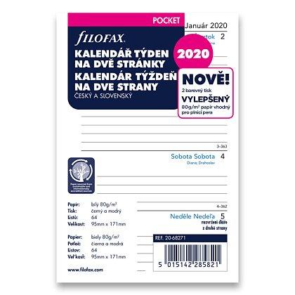 Obrázek produktu Filofax - náplň kapesní - týdenní kalendář 2020