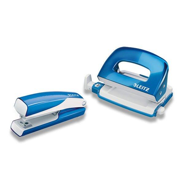 Mini set sešívačky a děrovačky Leitz Wow modrý