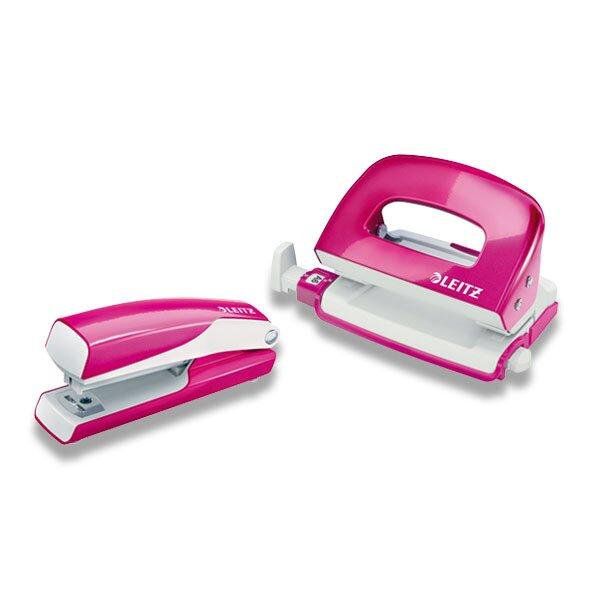 Mini set sešívačky a děrovačky Leitz Wow růžový