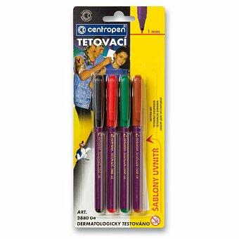 Obrázek produktu Popisovače Centropen 2880 tetovací - 4 barvy s šablonami