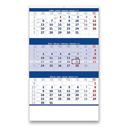 Obrázek produktu Tříměsíční kalendář 2020 - nástěnný pracovní kalendář - modrý
