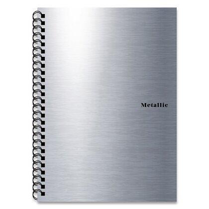 Obrázek produktu PP Karton Metallic - kroužkový blok - A5, 60 listů, linka, stříbrný
