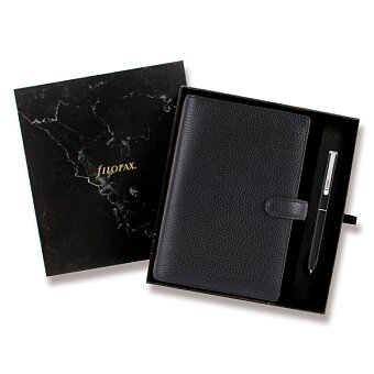 Obrázek produktu Osobní diář Filofax Finsbury A6 - černý, dárková sada s perem