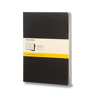 Obrázek produktu Sešity Moleskine Cahier - tvrdé desky - XL, čtverečkovaný, 3 ks, černý