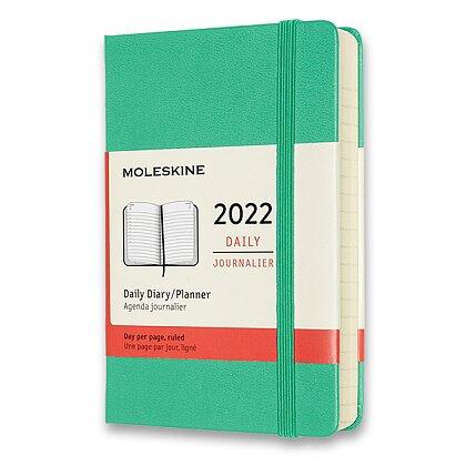 Obrázek produktu Moleskine 2022 - diář v tvrdých deskách - velikost S, denní, světle zelený