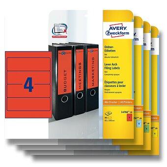 Obrázek produktu Samolepící štítky na pořadače Avery Zweckform - 192 x 61 mm, 80 ks, výběr barev