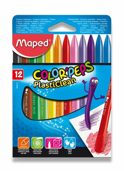 Plastové pastely Maped Color'Peps Plasticlean 12 barev, trojhranné