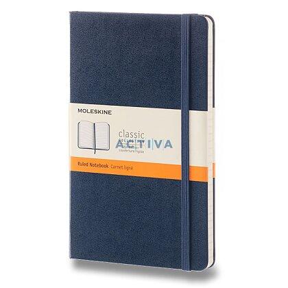 Obrázek produktu Moleskine - zápisník v tvrdých deskách - vel. L, 13 × 21 cm, linkovaný, modrý
