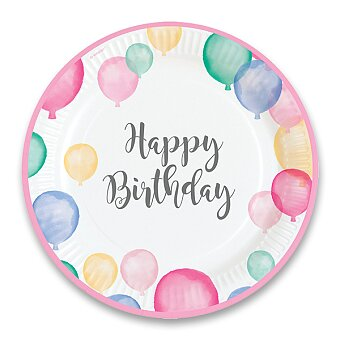 Obrázek produktu Papírové talířky Happy Birthday - průměr 22,8 cm, 8 ks