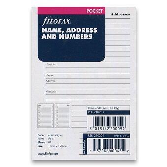 Obrázek produktu Adresář - náplň ke kapesním diářům Filofax