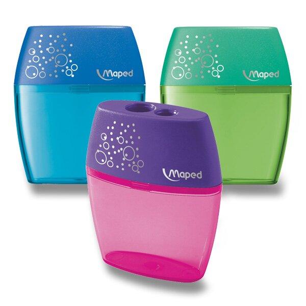 Ořezávátko Maped Shaker - s odpadní nádobkou 2 otvory, blistr, mix barev