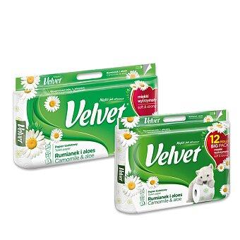Obrázek produktu Toaletní papír Velvet Camomile - 3 - vrstvý, 150 útržků, výběr balení