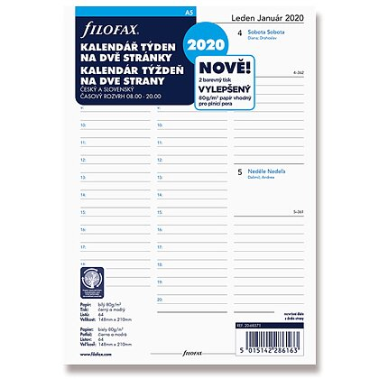 Product image Filofax Formát A5 - sheets with calendar