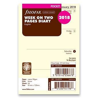 Obrázek produktu Týdenní kalendář 2018, Aj - náplň kapesních diářů Filofax