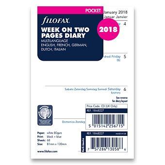 Obrázek produktu Týdenní kalendář 2018, 5 jazyků - náplň kapesních diářů Filofax
