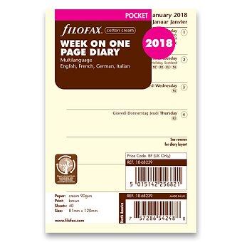 Obrázek produktu Týdenní kalendář 2018, 4 jazyky - náplň kapesních diářů Filofax