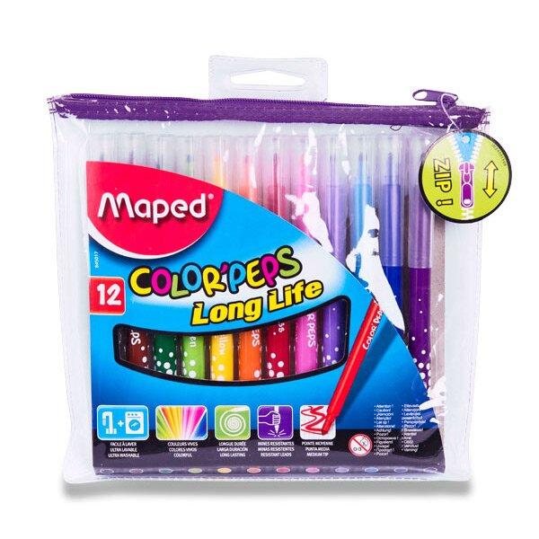 Dětské fixy Maped Color'Peps Long Life 12 barev, pouzdro na zip