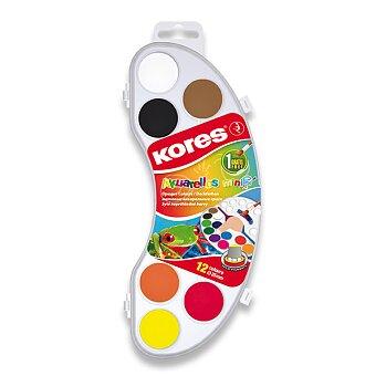 Obrázek produktu Vodové barvy Kores Akuarellas - 12 barev, průměr 25 mm