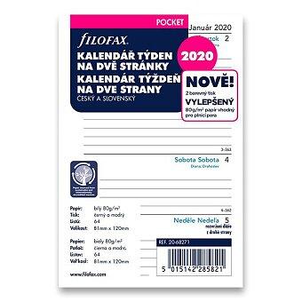 Obrázek produktu Týdenní kalendář 2020, Čj - náplň kapesních diářů Filofax