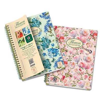 Obrázok produktu Pigna Nature Flowers - krúžkový blok - A4, 135 l., štvorčekový