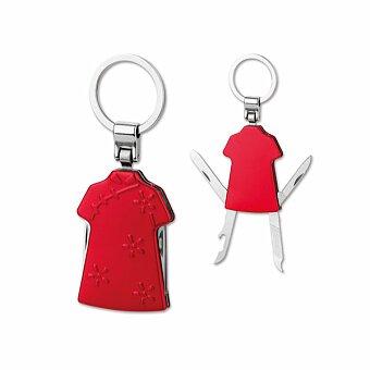 Obrázek produktu JASMEN - kovový přívěsek - nožík, 4 funkce, červená