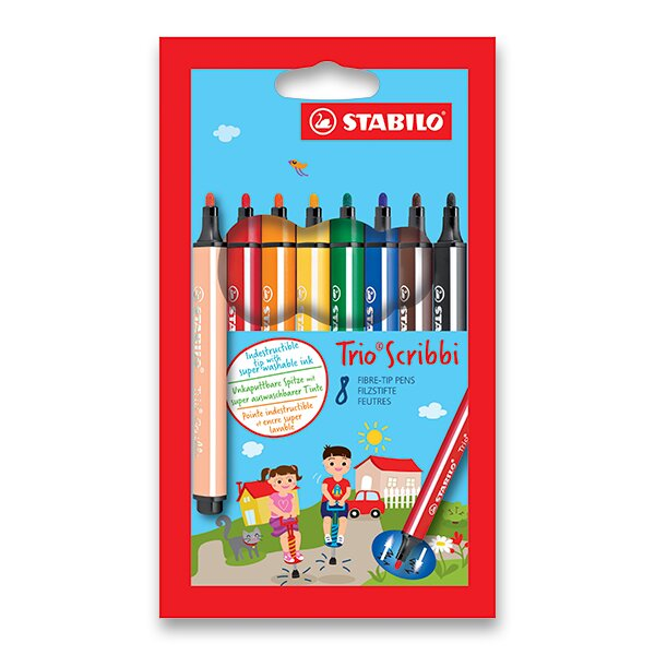 Dětské fixy Stabilo Trio Scribbi 8 barev