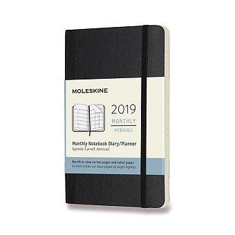Obrázek produktu Diář Moleskine 2019 - měkké desky - S, měsíční, černý