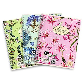 Obrázek produktu Kroužkový blok Pigna Nature Flowers - A5, čtverečkovaný, 60 listů, mix motivů