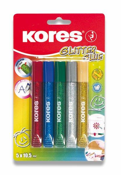 Dekorační lepidlo Kores Glitter Glue 5 x 10,5 ml, metalické barvy