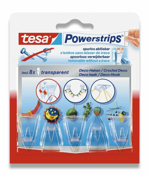 Lepicí háčky Tesa Powerstrips průhledné, 5 ks