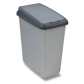Obrázek produktu Plastový odpadkový koš OKT - stříbrný, výběr velikostí