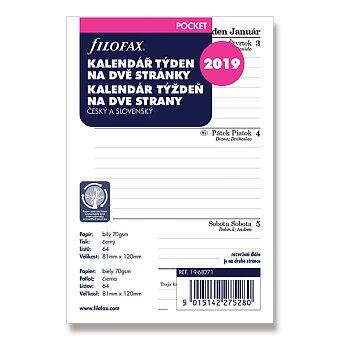 Obrázek produktu Týdenní kalendář 2019 - náplň ke kapesním diářům Filofax