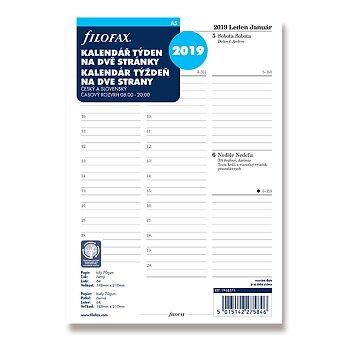 Obrázek produktu Týdenní kalendář 2019 - náplň A5 k diářům Filofax
