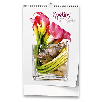 Obrázek produktu Nástěnný obrázkový kalendář Květiny 2021 - 14 listů, 32 x 45 cm