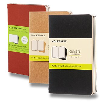 Obrázek produktu Notes Moleskine Cahier - tvrdé desky - S, čisté, 3 ks, výběr barev