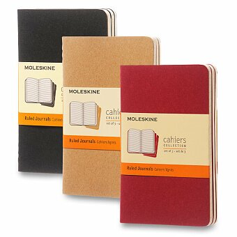 Obrázek produktu Notes Moleskine Cahier - tvrdé desky - S, linkovaný, 3 ks, výběr barev