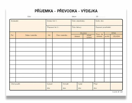 Obrázek produktu Příjemka, převodka, výdejka Optys 1087 - A5, samopropis