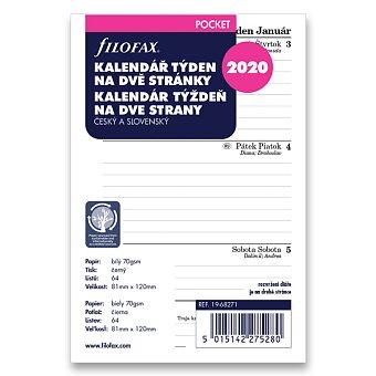 Obrázek produktu Týdenní kalendář 2020 - náplň ke kapesním diářům Filofax