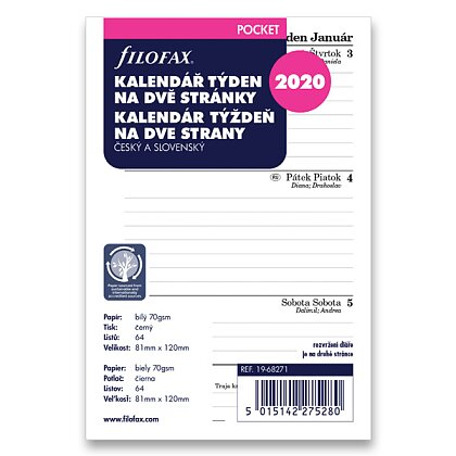 Product image Filofax Formát A7 - sheets with calendar